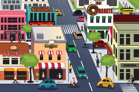 Illustration pour A vector illustration of busy city in the morning - image libre de droit
