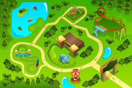Illustration pour A vector illustration of map  of an amusement theme park - image libre de droit