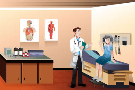 Illustration pour A vector illustration of male doctor and senior patient in the clinic - image libre de droit