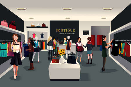 Illustration for A vector illustration of view inside a trendy clothing store - Royalty Free Image