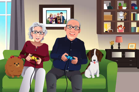 Illustration for Illustration of elderly couple playing games at home - Royalty Free Image