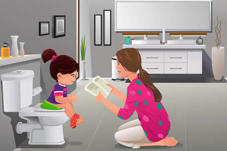 Ilustración de A vector illustration of girl doing potty training with her mother watching - Imagen libre de derechos