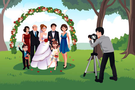 Illustration pour A vector illustration of  man photographing a family in a wedding - image libre de droit