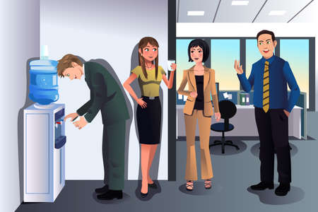 Illustration pour A vector illustration of business people chatting near a water cooler in the office - image libre de droit