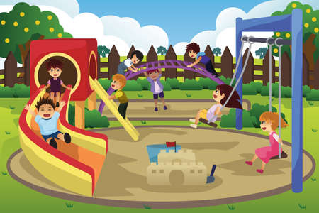 Illustration for A vector illustration of children playing in the playground - Royalty Free Image