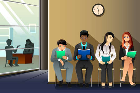 Illustration pour A vector illustration of business people waiting for their turn to be interviewed - image libre de droit