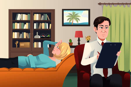 Illustration pour A illustration of psychiatrist working with a patient - image libre de droit
