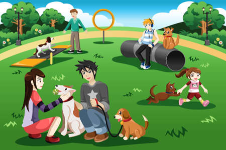 Illustration pour A vector illustration of people having fun in a dog park - image libre de droit