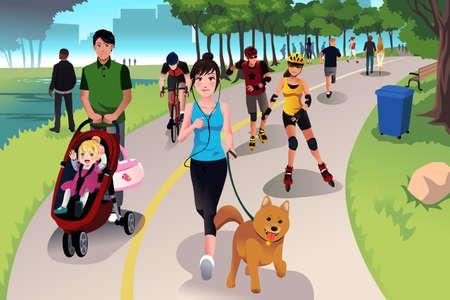 Illustration pour A vector illustration of people in a park doing activities - image libre de droit