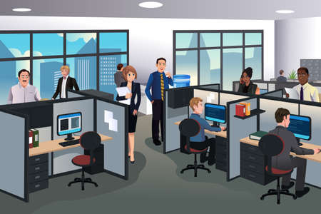 Illustration pour A vector illustration of people working in the office - image libre de droit
