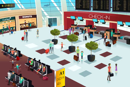 A vector illustration of inside the airport scene