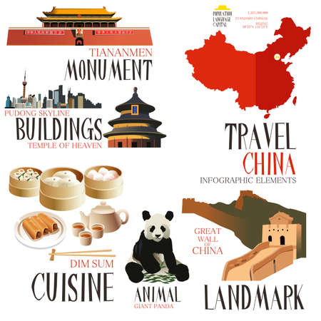 Ilustración de A vector illustration of Infographic elements for traveling to china - Imagen libre de derechos