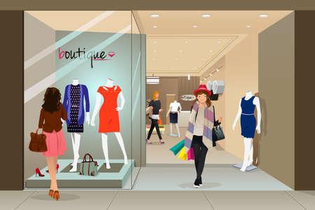 Ilustración de A vector illustration of stylish woman shopping in a mall - Imagen libre de derechos