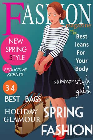 Ilustración de A vector illustration of magazine cover about  spring fashion style - Imagen libre de derechos