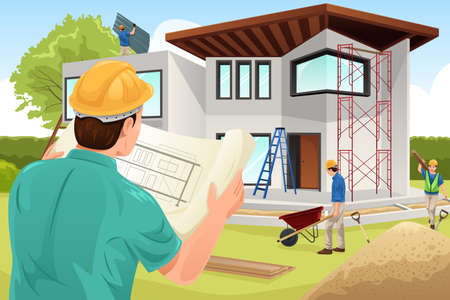 Illustration pour A vector illustration of architect working at the construction site - image libre de droit