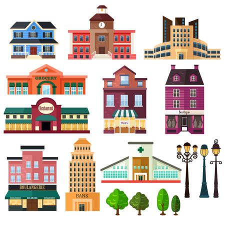 Ilustración de A vector illustration of buildings and lamp post icons - Imagen libre de derechos