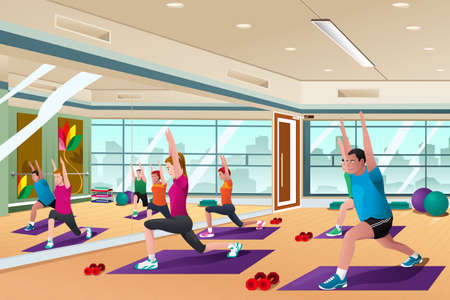 Ilustración de A vector illustration of men and women in a yoga class - Imagen libre de derechos