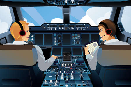 Illustration pour A vector illustration of pilot and copilot inside the cockpit - image libre de droit