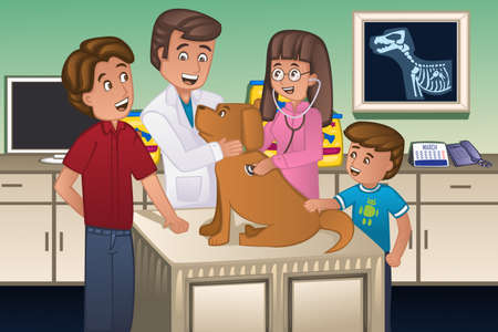 Illustration pour A illustration of a veterinarian examining a cute dog - image libre de droit