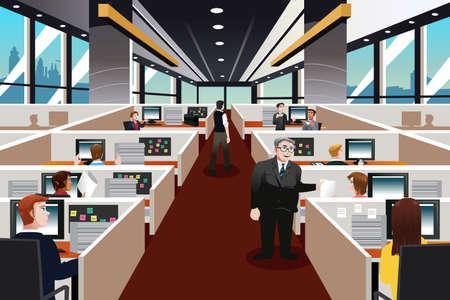 Ilustración de A illustration of  people working in the office - Imagen libre de derechos