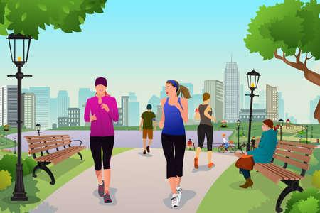 Illustration pour A illustration healthy women running in a park - image libre de droit