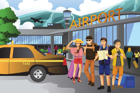 Illustration pour A vector illustration of young people traveling together - image libre de droit