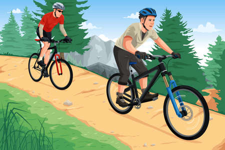 Illustration pour A vector illustration of people riding mountain bikes on the mountain - image libre de droit