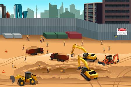 Photo pour A vector illustration of scene in a construction site - image libre de droit
