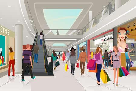 Ilustración de A vector illustration of people  shopping in a mall - Imagen libre de derechos