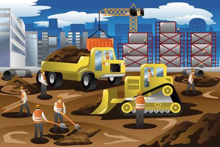 Illustration pour A vector illustration of workers in a construction site - image libre de droit