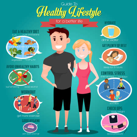 Illustration pour A vector illustration of infographics of a guide to healthy lifestyle for a better life - image libre de droit
