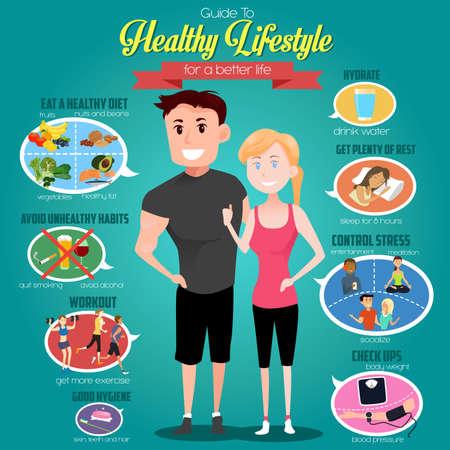 Ilustración de A vector illustration of infographics of a guide to healthy lifestyle for a better life - Imagen libre de derechos
