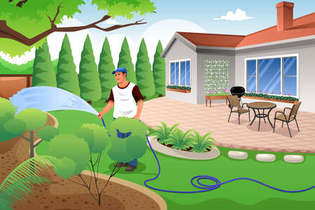 Ilustración de A vector illustration of man watering his grass and garden in the backyard - Imagen libre de derechos