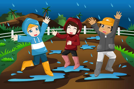 A vector illustration of happy kids playing under the rain