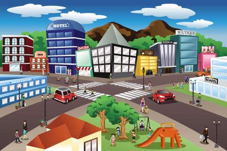 Ilustración de A vector illustration of city scene - Imagen libre de derechos