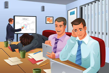 Ilustración de A vector illustration of businessman giving a presentation and his colleagues are not paying attention to him - Imagen libre de derechos