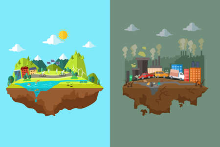 Illustration pour A vector illustration of comparison of clean city and polluted city - image libre de droit