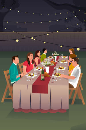 Illustration pour A vector illustration of people having dinner in the backyard together - image libre de droit