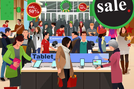 Illustration pour A vector illustration of people shopping on black friday in electronic store - image libre de droit