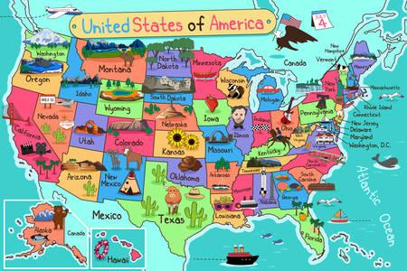 Illustration pour A vector illustration of USA map in cartoon style - image libre de droit