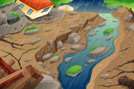 Illustration for A vector illustration of monsoon rain resulting in flood an mudslide - Royalty Free Image