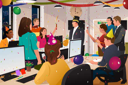 Illustration pour A vector illustration of group of business people celebrating New Year in the office - image libre de droit