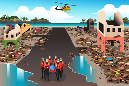 Illustration for A vector illustration of rescue teams searching through the destroyed building during the tsunami - Royalty Free Image