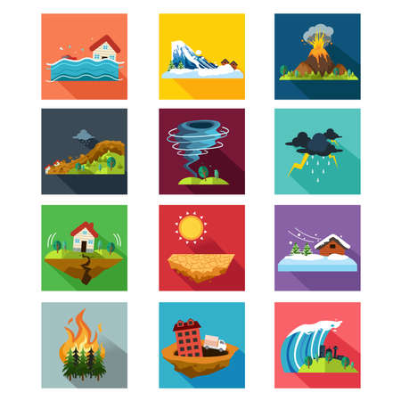 Illustration for A vector illustration of natural disaster icon sets - Royalty Free Image