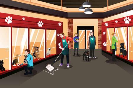 Ilustración de A vector illustration of people working in animal shelter - Imagen libre de derechos