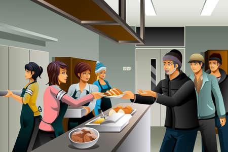 Ilustración de A vector illustration of volunteers serving food to homeless people - Imagen libre de derechos