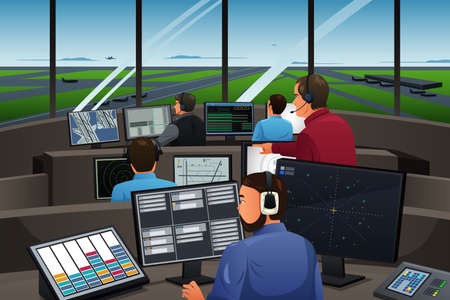 Illustration pour A vector illustration of air traffic controller working in the airport - image libre de droit