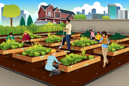 Illustration for illustration of people in community doing gardening together - Royalty Free Image