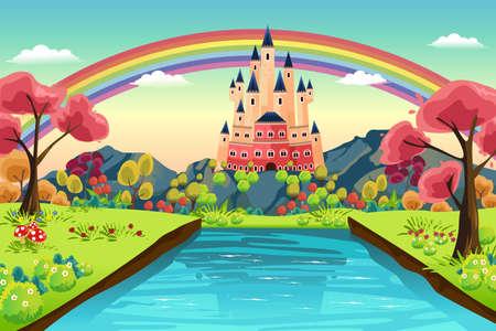 Illustration pour A vector illustration of castle background - image libre de droit