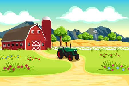 Illustration pour A vector illustration of farm scene - image libre de droit